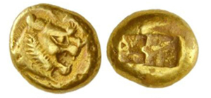 An electrum coin from the time of Lydian kings Alyattes to Kroisos (c. 610–546 B.C.), with a lion's head and beaming sun.