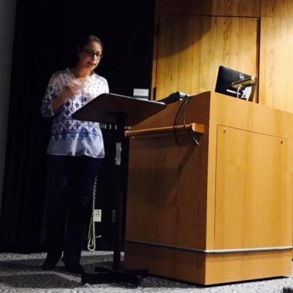 Professor Stamatopoulou speaks at the University of Iowa